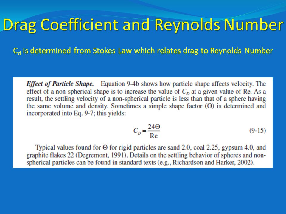 Drag Coefficient and Reynolds Number C d is determined from Stokes Law which relates drag to Reynolds Number