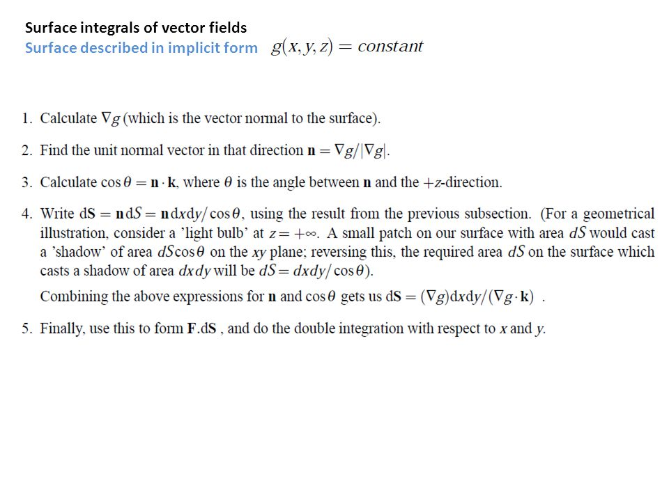 Surface integrals of vector fields Surface described in implicit form