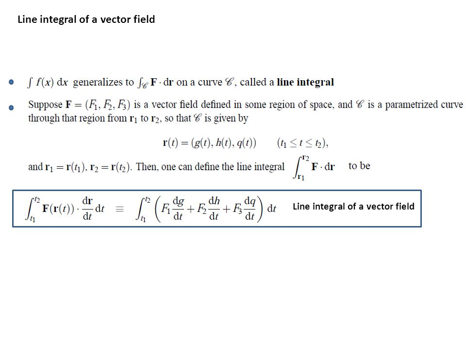 Line integral of a vector field