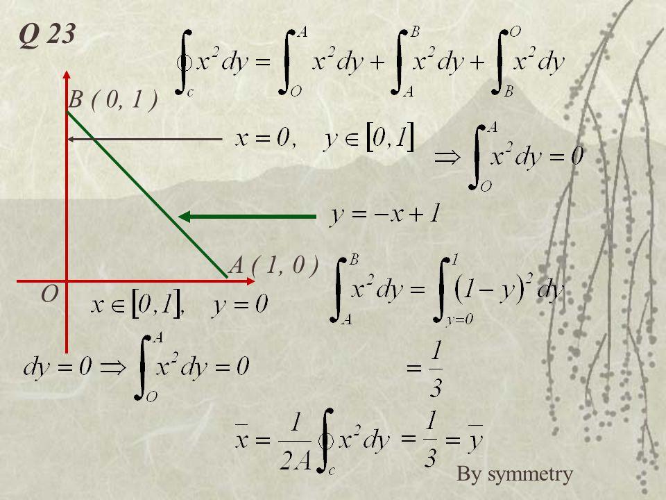 Q 23 O A ( 1, 0 ) B ( 0, 1 ) By symmetry