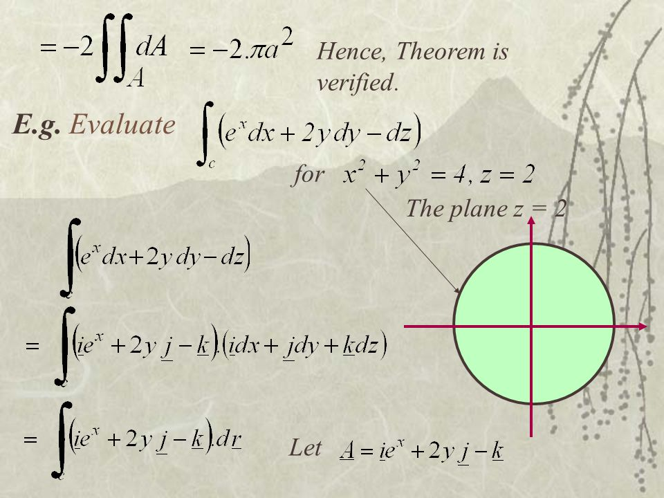 Hence, Theorem is verified. E.g. Evaluate for The plane z = 2 Let