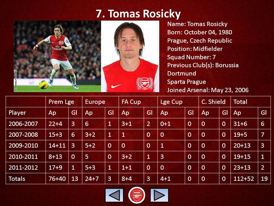 7. Tomas Rosicky Name: Tomas Rosicky Born: October 04, 1980 Prague, Czech Republic Position: Midfielder Squad Number: 7 Previous Club(s): Borussia Dor
