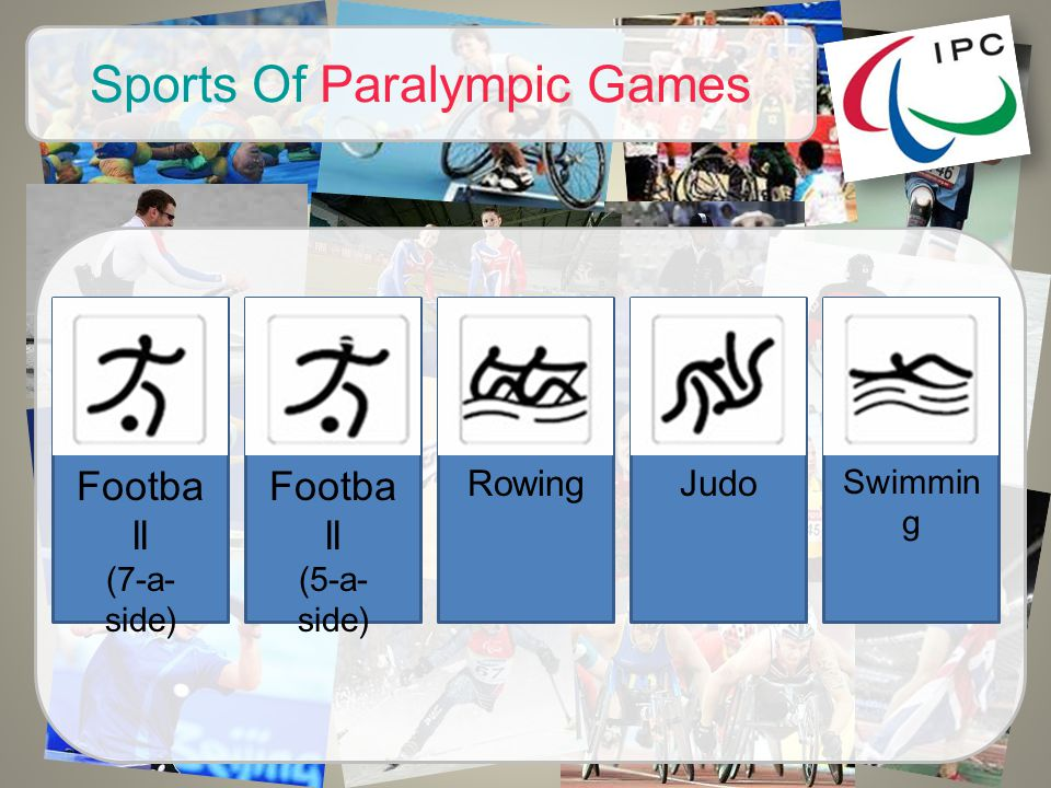 Sports Of Paralympic Games Footba ll (7-a- side) Judo Footba ll (5-a- side) Rowing Swimmin g