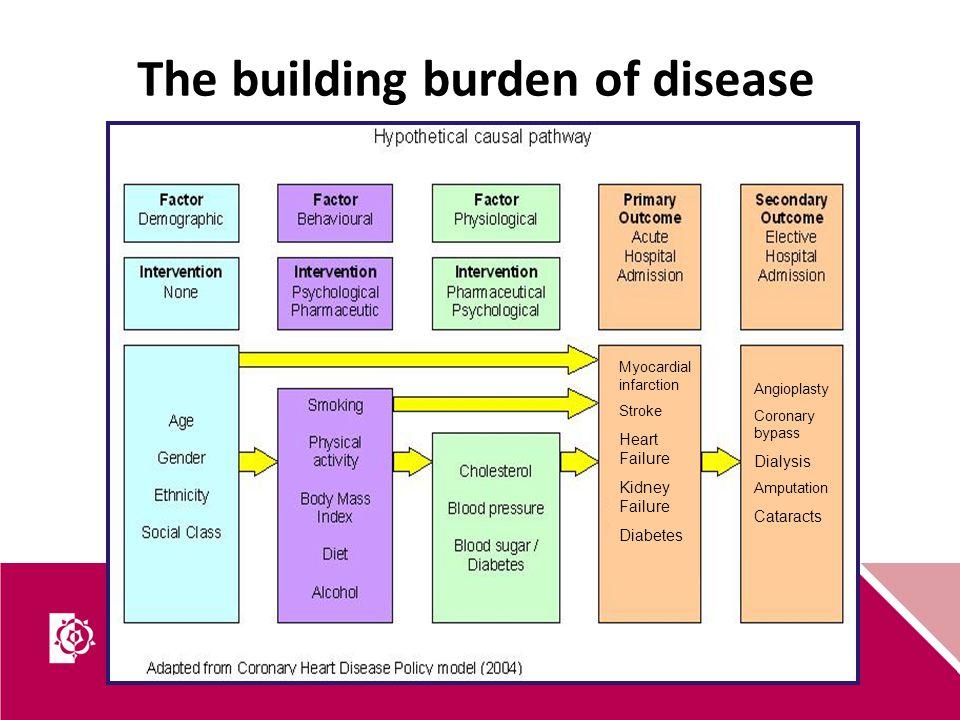 The building burden of disease Myocardial infarction Stroke Heart Failure Kidney Failure Diabetes Angioplasty Coronary bypass Dialysis Amputation Cata