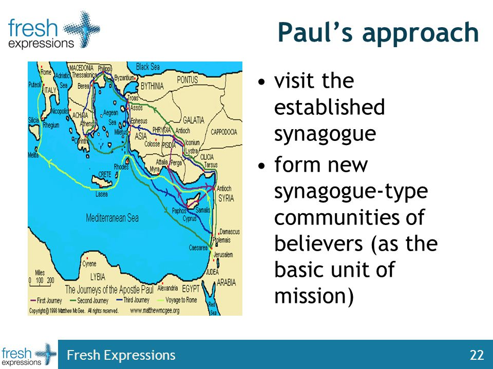 Fresh Expressions22 Paul's approach visit the established synagogue form new synagogue-type communities of believers (as the basic unit of mission)