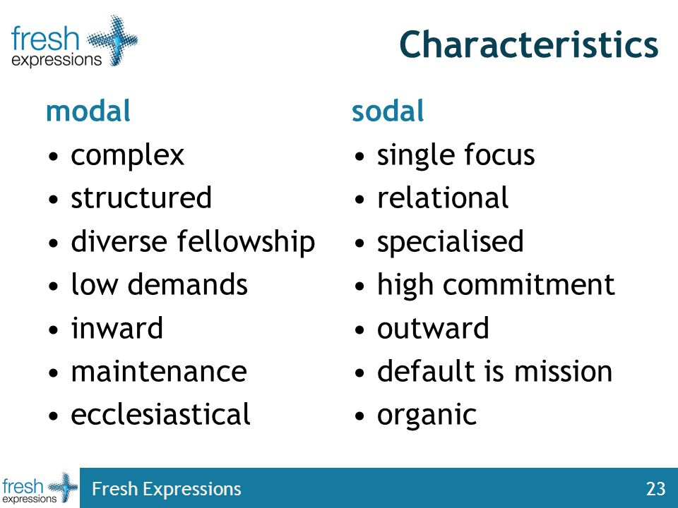 Fresh Expressions23 Characteristics modal complex structured diverse fellowship low demands inward maintenance ecclesiastical sodal single focus relational specialised high commitment outward default is mission organic