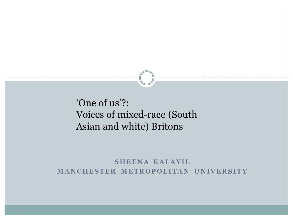 SHEENA KALAYIL MANCHESTER METROPOLITAN UNIVERSITY ' 'One of us'?: Voices of mixed-race (South Asian and white) Britons