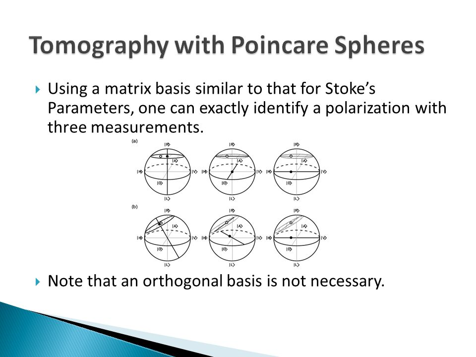  Using a matrix basis similar to that for Stoke's Parameters, one can exactly identify a polarization with three measurements.