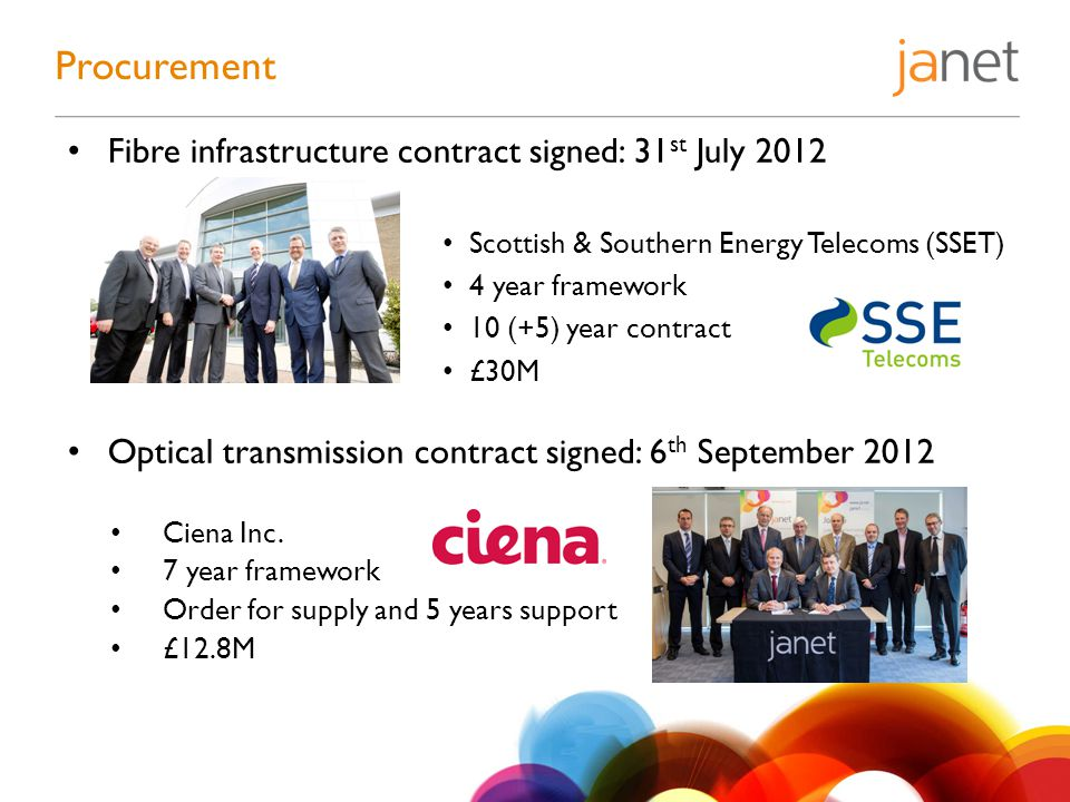 Fibre infrastructure contract signed: 31 st July 2012 Scottish & Southern Energy Telecoms (SSET) 4 year framework 10 (+5) year contract £30M Optical t