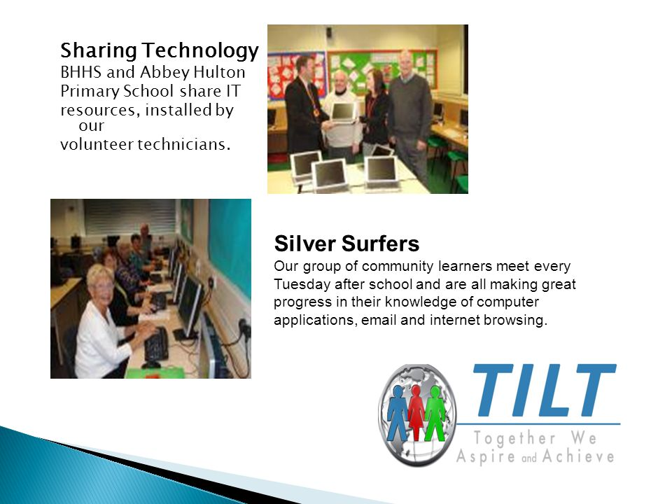 Sharing Technology BHHS and Abbey Hulton Primary School share IT resources, installed by our volunteer technicians.
