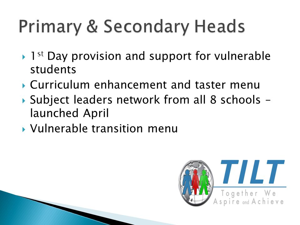  1 st Day provision and support for vulnerable students  Curriculum enhancement and taster menu  Subject leaders network from all 8 schools – launched April  Vulnerable transition menu