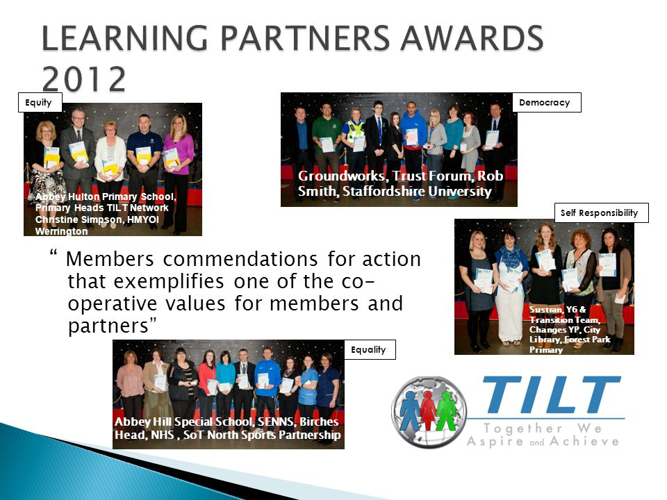 Members commendations for action that exemplifies one of the co- operative values for members and partners Equality Abbey Hill Special School, SENNS, Birches Head, NHS, SoT North Sports Partnership Self Responsibility Sustran, Y6 & Transition Team, Changes YP, City Library, Forest Park Primary Equity Abbey Hulton Primary School, Primary Heads TILT Network Christine Simpson, HMYOI Werrington Democracy Groundworks, Trust Forum, Rob Smith, Staffordshire University