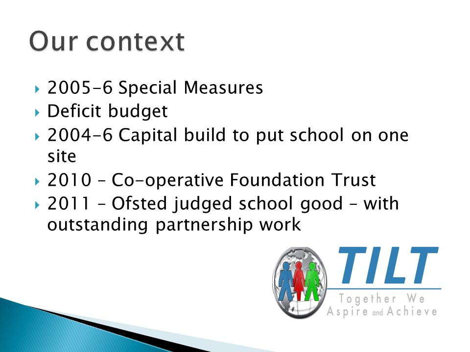  2005-6 Special Measures  Deficit budget  2004-6 Capital build to put school on one site  2010 – Co-operative Foundation Trust  2011 – Ofsted jud