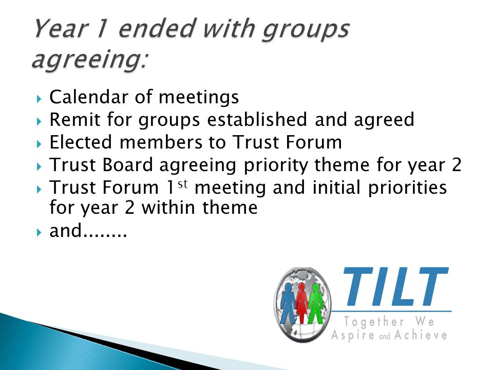  Calendar of meetings  Remit for groups established and agreed  Elected members to Trust Forum  Trust Board agreeing priority theme for year 2  Trust Forum 1 st meeting and initial priorities for year 2 within theme  and........