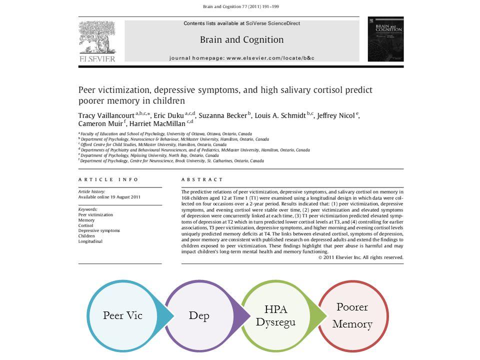 Poorer Memory HPA Dysregu DepPeer Vic
