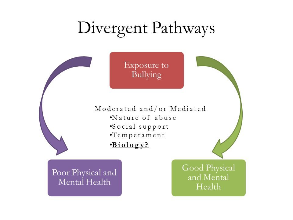 Divergent Pathways Exposure to Bullying Good Physical and Mental Health Poor Physical and Mental Health Moderated and/or Mediated Nature of abuse Social support Temperament Biology