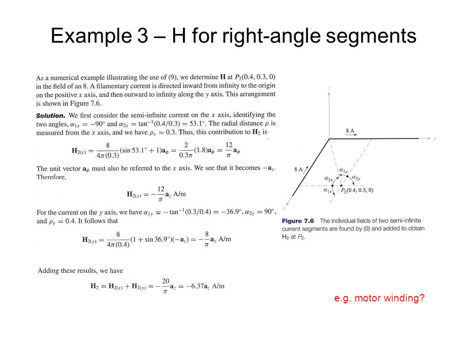 Example 3 – H for right-angle segments e.g. motor winding?