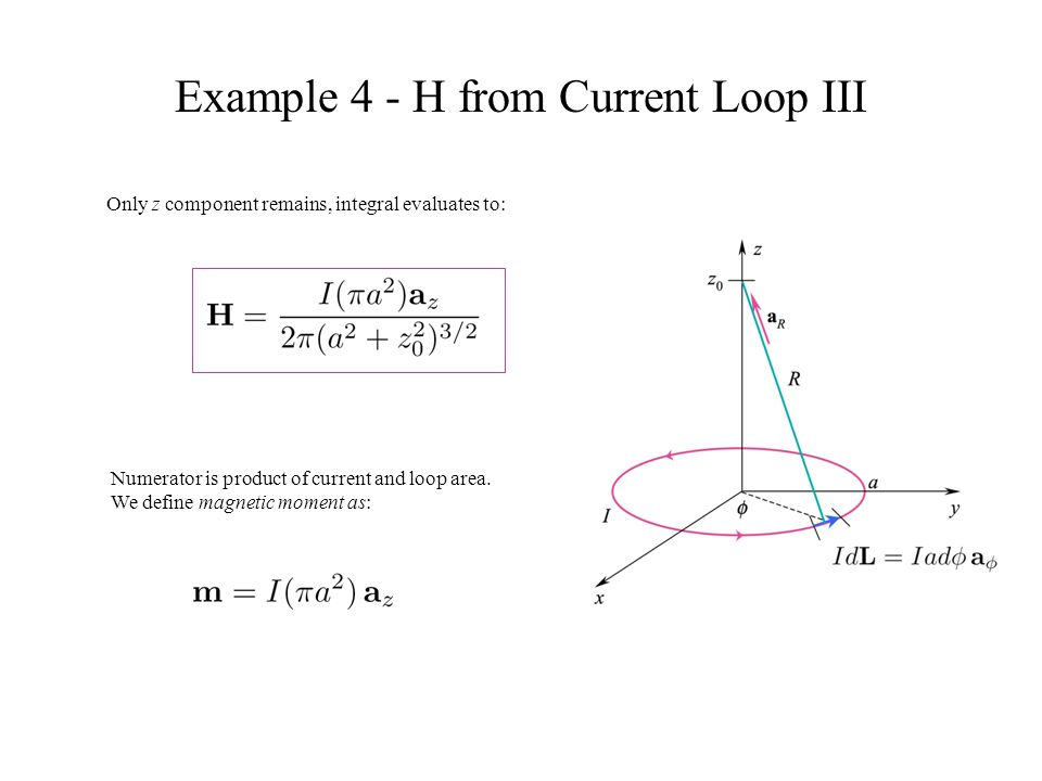 Example 4 - H from Current Loop III Only z component remains, integral evaluates to: Numerator is product of current and loop area. We define magnetic