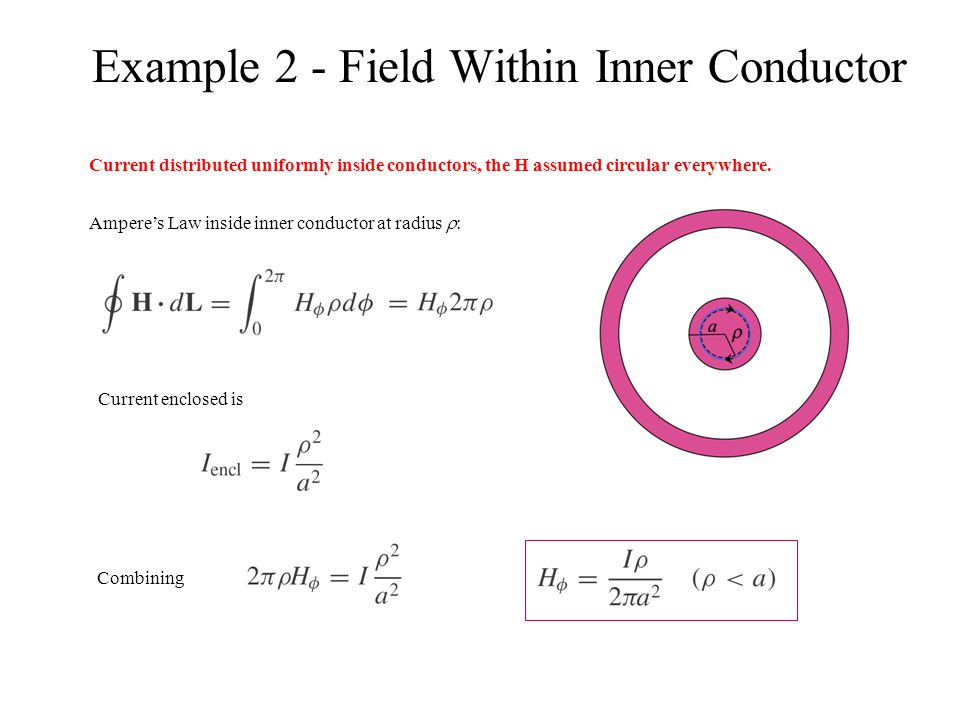 Example 2 - Field Within Inner Conductor Current distributed uniformly inside conductors, the H assumed circular everywhere. Ampere's Law inside inner