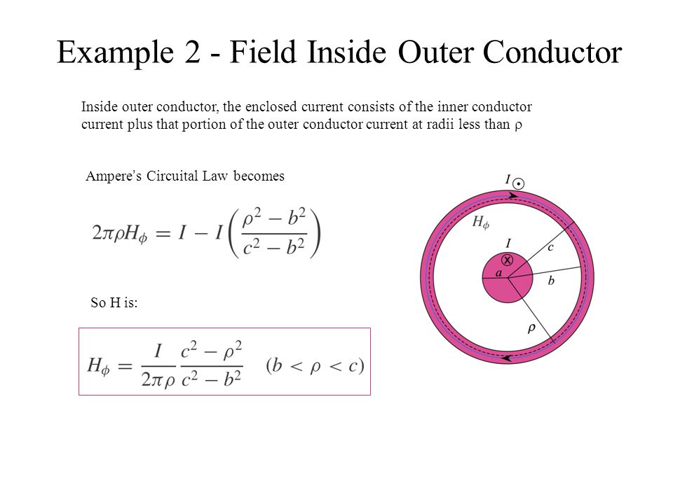 Example 2 - Field Inside Outer Conductor Inside outer conductor, the enclosed current consists of the inner conductor current plus that portion of the