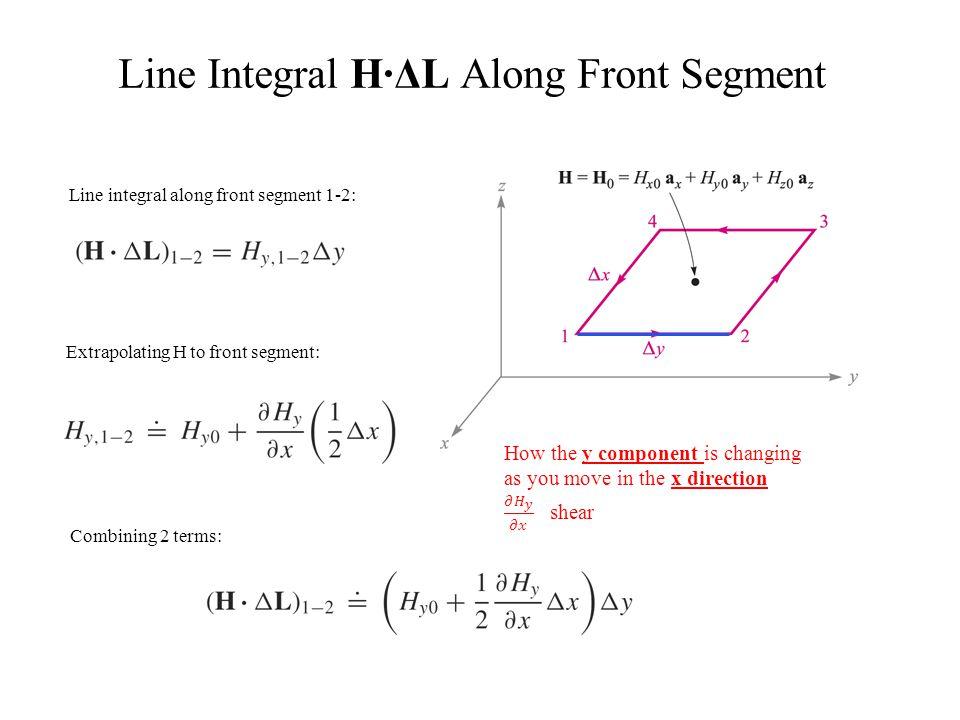 Line Integral H∙ΔL Along Front Segment Line integral along front segment 1-2: Extrapolating H to front segment: Combining 2 terms: