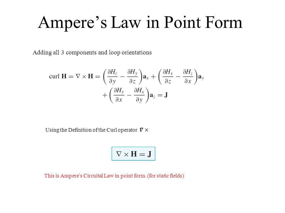 Ampere's Law in Point Form This is Ampere's Circuital Law in point form. (for static fields) Adding all 3 components and loop orientations