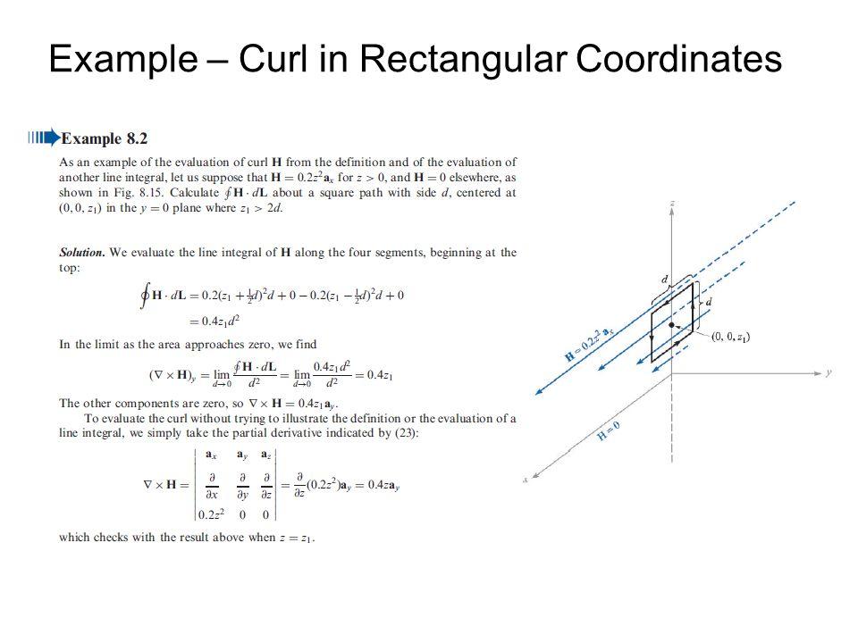 Example – Curl in Rectangular Coordinates