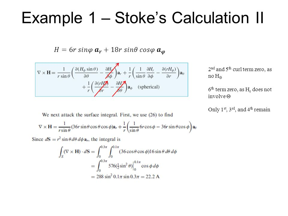 Example 1 – Stoke's Calculation II 2 nd and 5 th curl term zero, as no H Θ 6 th term zero, as H r does not involve Θ Only 1 st, 3 rd, and 4 th remain