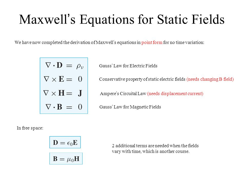 Maxwell's Equations for Static Fields We have now completed the derivation of Maxwell's equations in point form for no time variation: Gauss' Law for