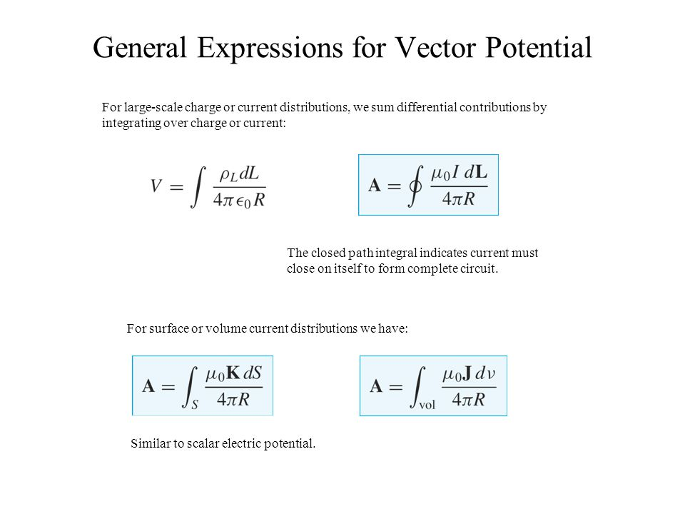 General Expressions for Vector Potential For large-scale charge or current distributions, we sum differential contributions by integrating over charge
