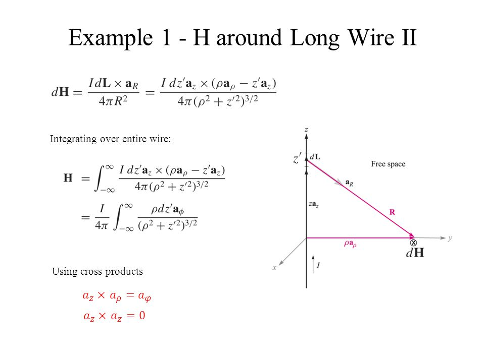 Example 1 – H around Long Wire III Ampere's law near long wire Current into page.