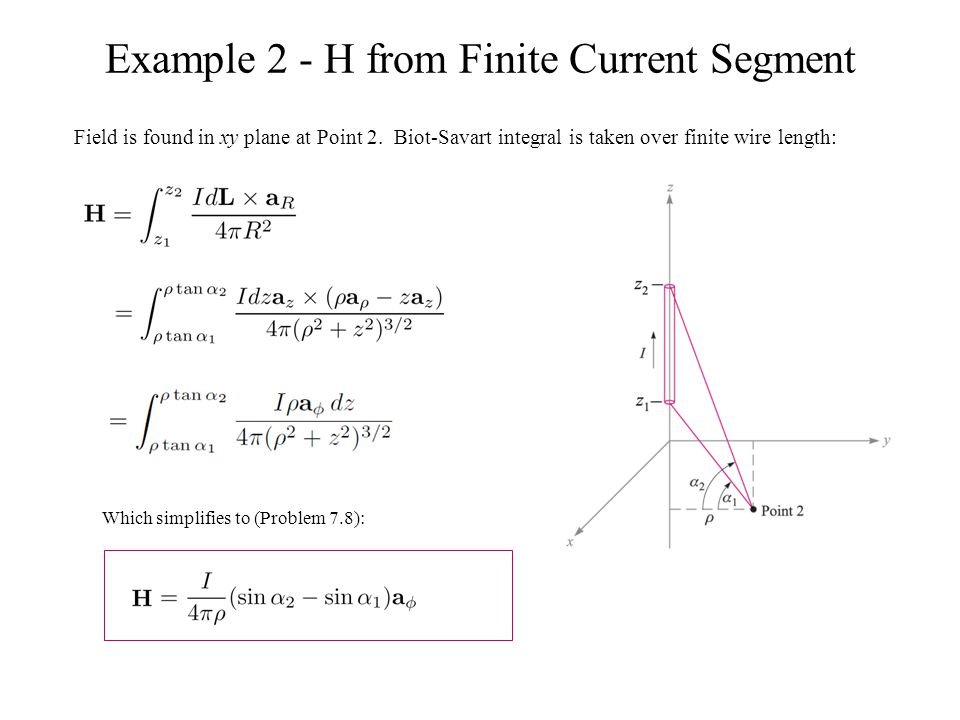 Example 2 - H from Finite Current Segment Field is found in xy plane at Point 2. Biot-Savart integral is taken over finite wire length: Which simplifi
