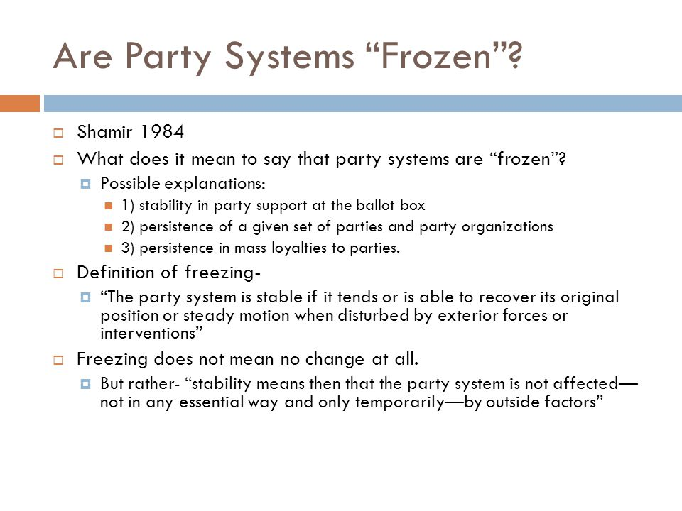 Are Party Systems Frozen .
