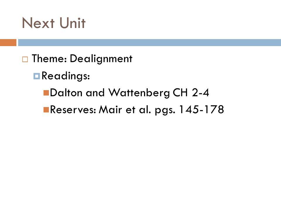 Next Unit  Theme: Dealignment  Readings: Dalton and Wattenberg CH 2-4 Reserves: Mair et al. pgs. 145-178