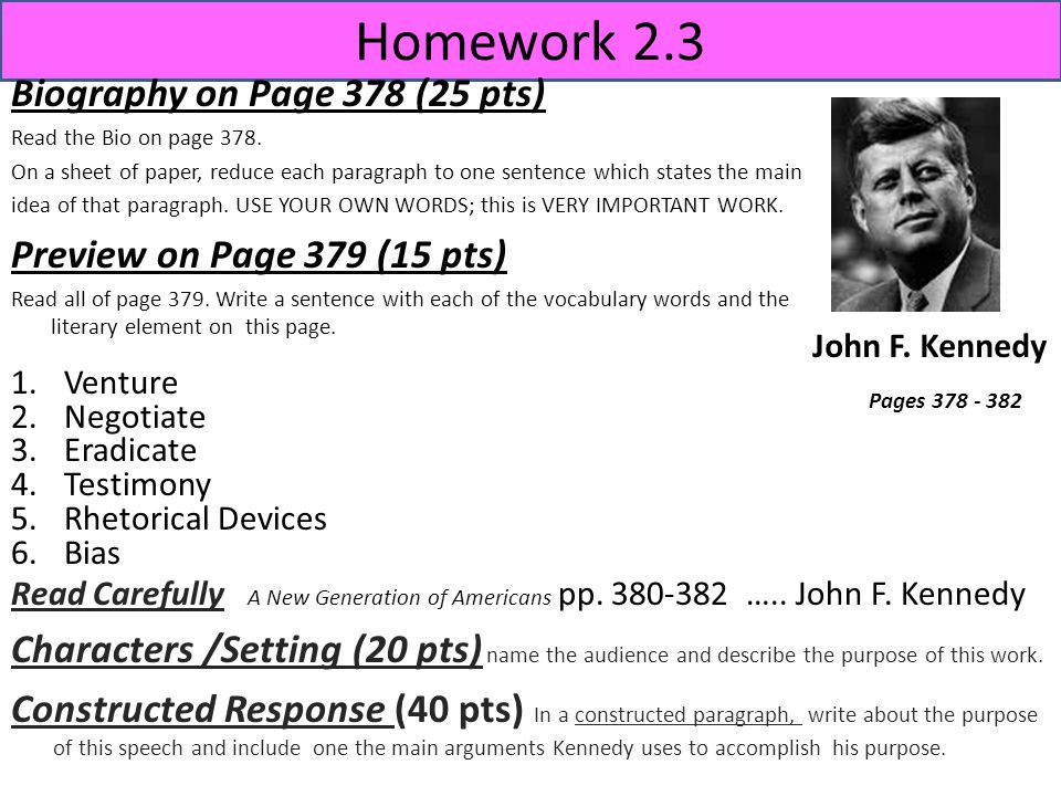 Homework 2.3 Biography on Page 378 (25 pts) Read the Bio on page 378. On a sheet of paper, reduce each paragraph to one sentence which states the main