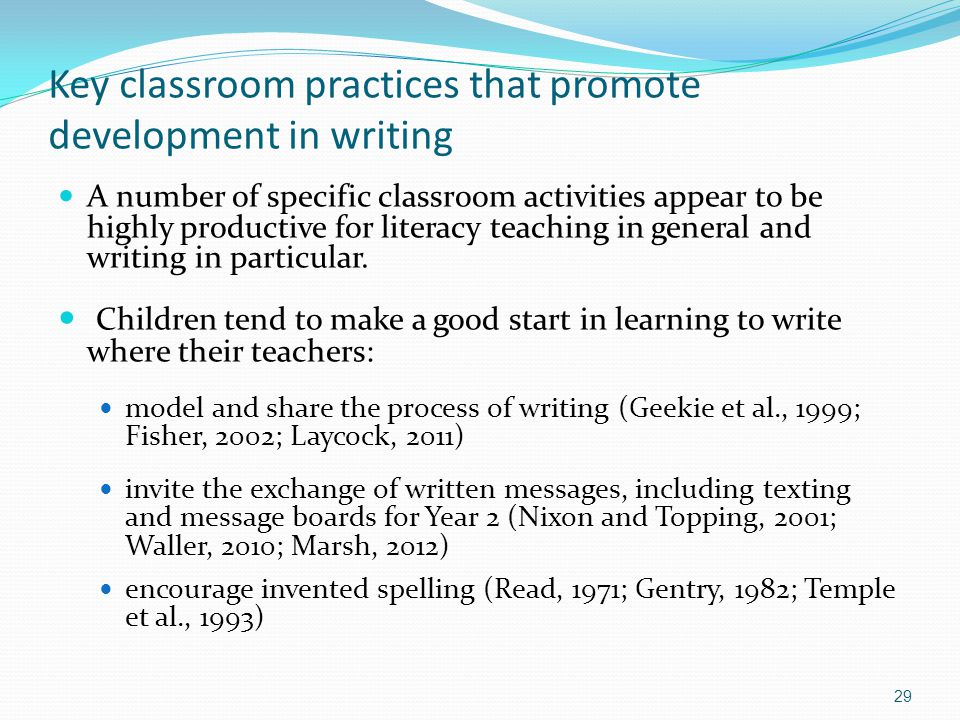 Key classroom practices that promote development in writing A number of specific classroom activities appear to be highly productive for literacy teaching in general and writing in particular.