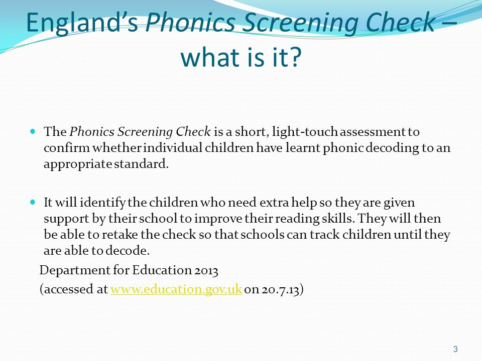 England's Phonics Screening Check – what is it.