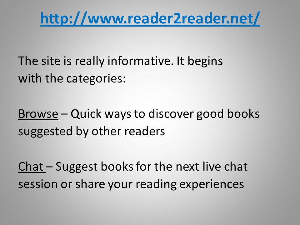 http://www.reader2reader.net/ The site is really informative.