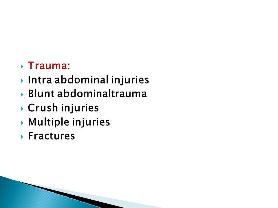  Trauma:  Intra abdominal injuries  Blunt abdominaltrauma  Crush injuries  Multiple injuries  Fractures