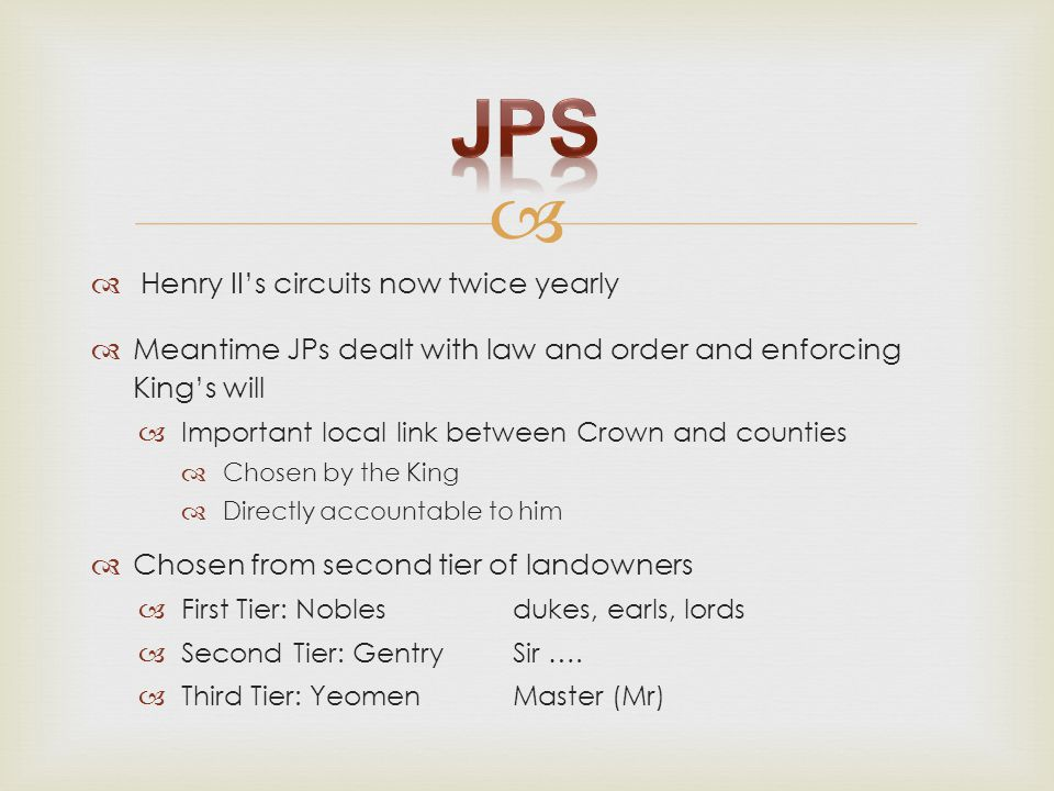   Henry II's circuits now twice yearly  Meantime JPs dealt with law and order and enforcing King's will  Important local link between Crown and co