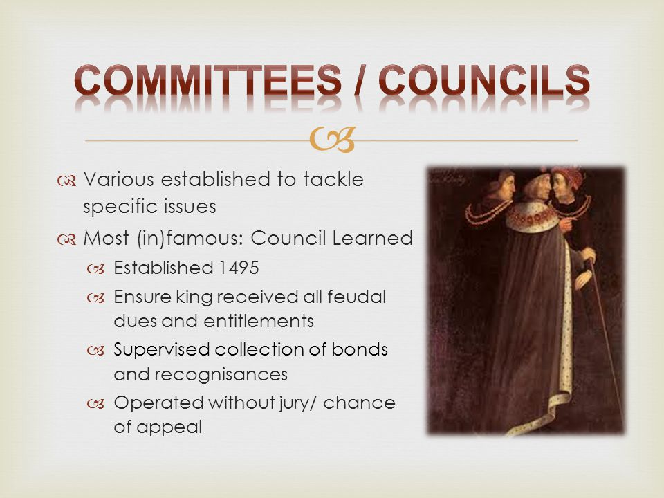   Various established to tackle specific issues  Most (in)famous: Council Learned  Established 1495  Ensure king received all feudal dues and ent
