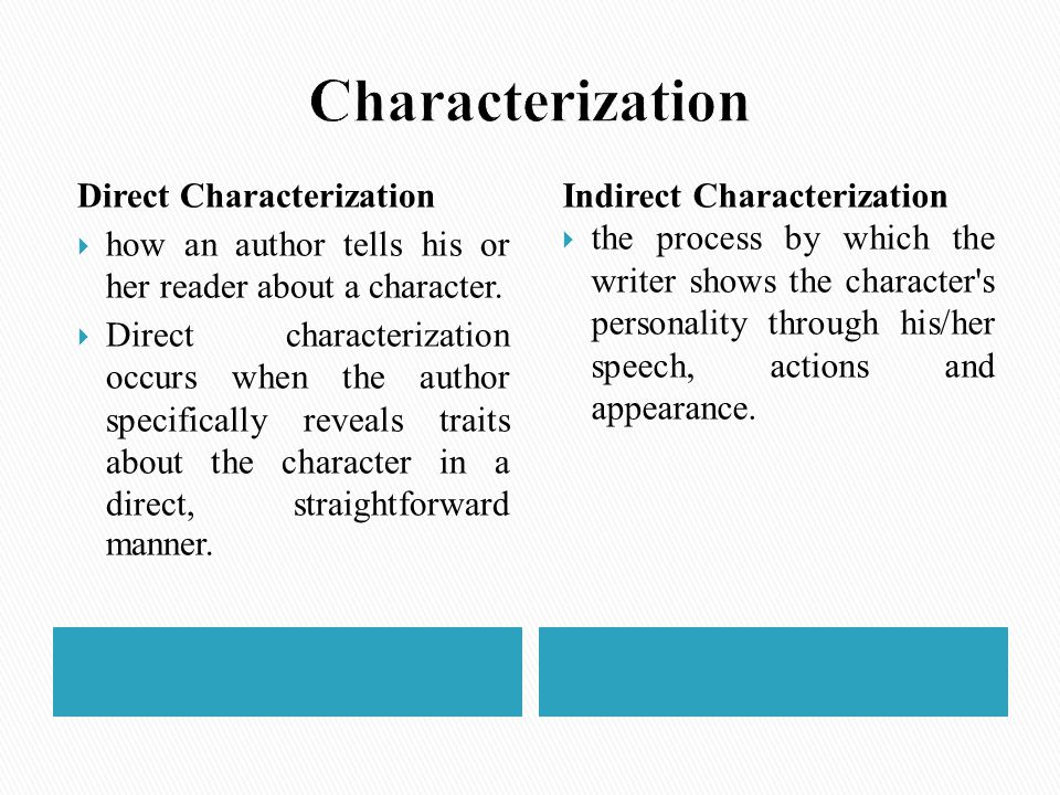 Direct Characterization  how an author tells his or her reader about a character.