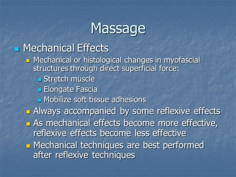 Petrissage Kneading manipulations that press and roll the muscles under the fingers or hand Kneading manipulations that press and roll the muscles under the fingers or hand No gliding motions over the skin No gliding motions over the skin Muscles are squeezed, lifted, and relaxed Muscles are squeezed, lifted, and relaxed Stroke moves from the distal to the proximal point of muscular attachment Stroke moves from the distal to the proximal point of muscular attachment Grasp parallel to or at right angles to muscular fibers Grasp parallel to or at right angles to muscular fibers
