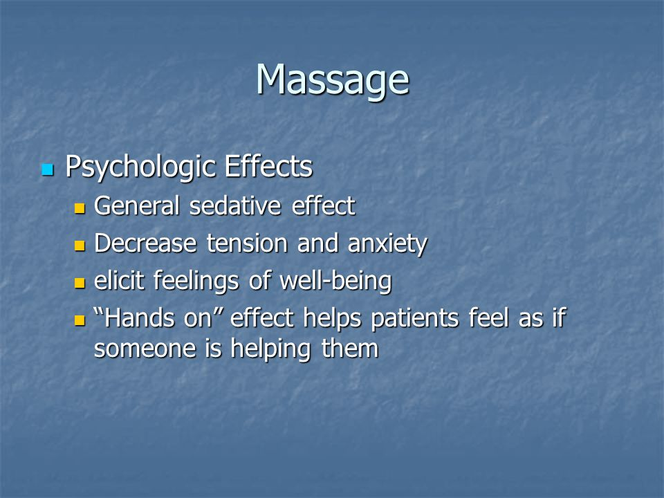 Massage Routine Individual massage strokes alone do not make a good massage Individual massage strokes alone do not make a good massage The form and progression of the massage depend on the individual requirements of the patient The form and progression of the massage depend on the individual requirements of the patient