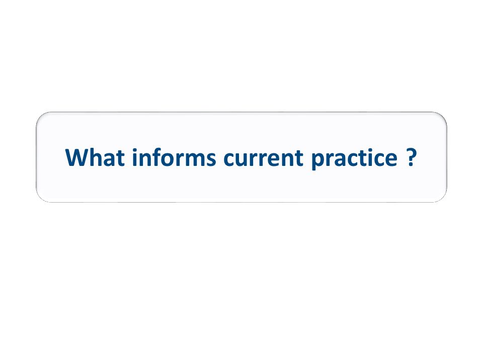 What informs current practice
