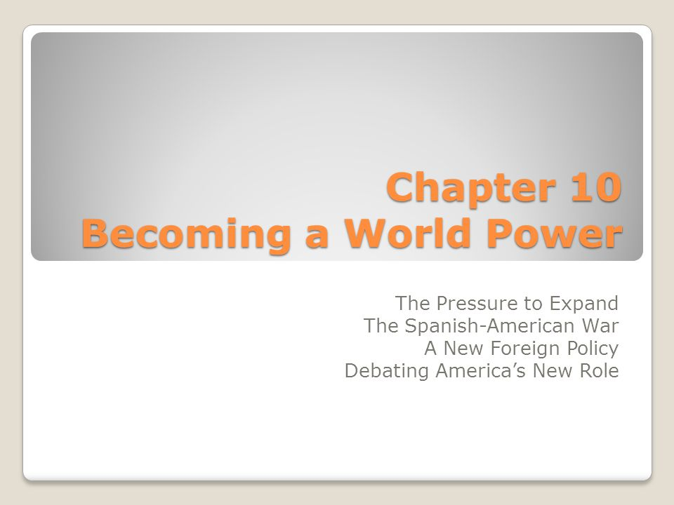 A New Foreign Policy Use your book (p.