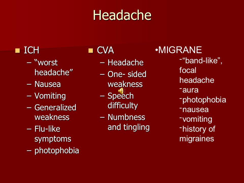 Headache CVA CVA –Headache –One- sided weakness –Speech difficulty –Numbness and tingling ICH ICH – worst headache –Nausea –Vomiting –Generalized weakness –Flu-like symptoms –photophobia MIGRANE ־ band-like , focal headache ־aura ־photophobia ־nausea ־vomiting ־history of migraines
