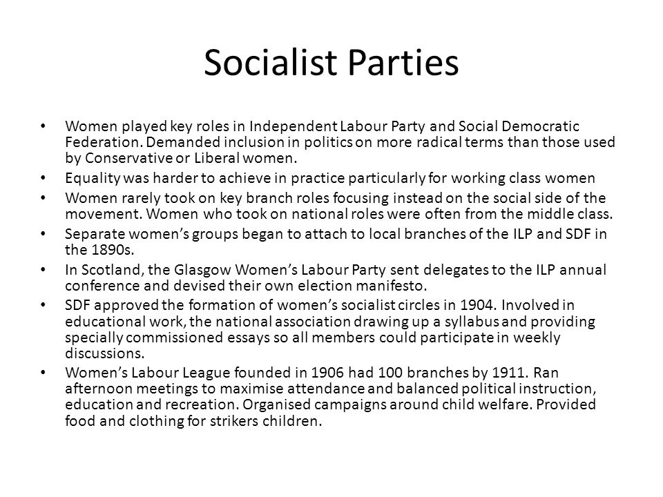 Socialist Parties Women played key roles in Independent Labour Party and Social Democratic Federation.
