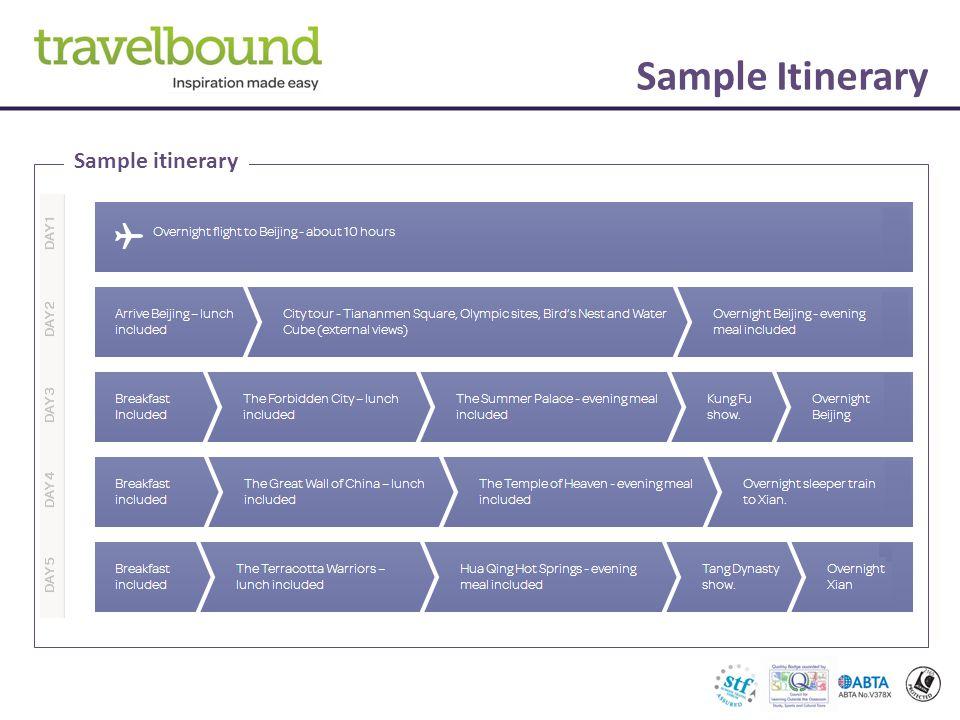 Sample Itinerary Sample itinerary