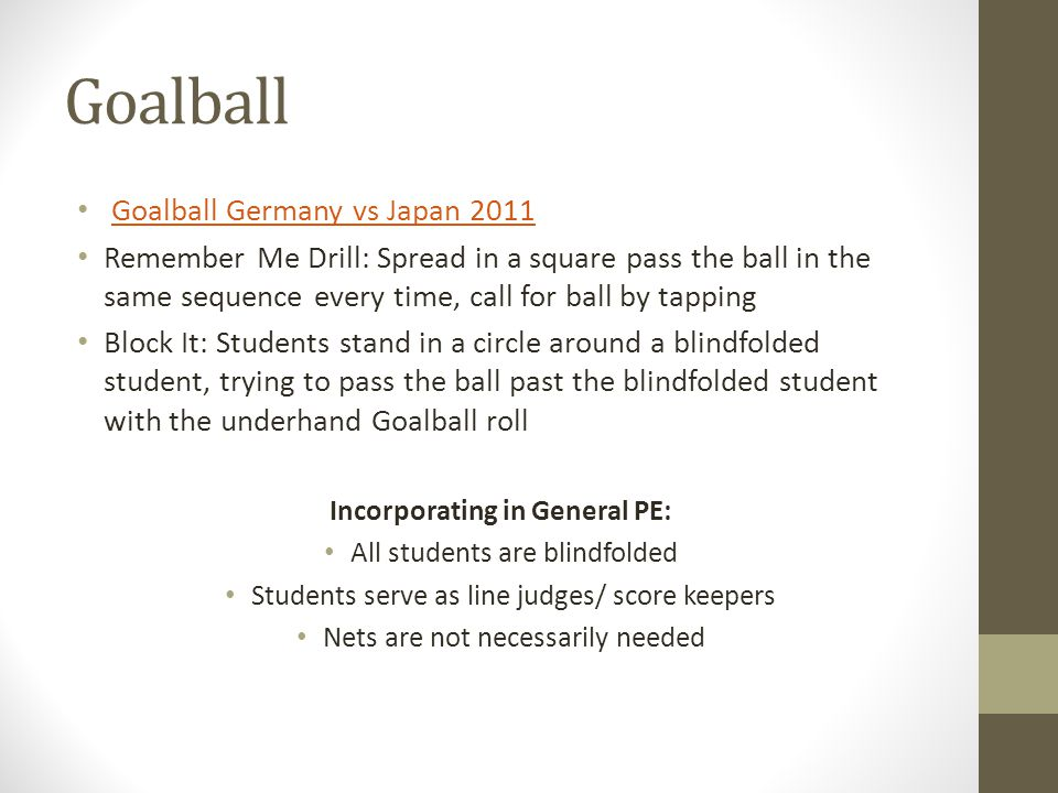 Goalball Goalball Germany vs Japan 2011 Remember Me Drill: Spread in a square pass the ball in the same sequence every time, call for ball by tapping
